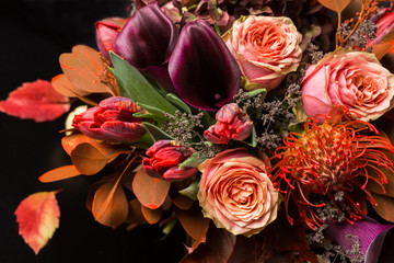 Fall bouquet at black background Fototapete