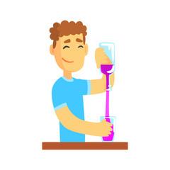 Young bartender man character standing at the bar counter pouring alcoholic beverage, barman at work cartoon vector Illustration