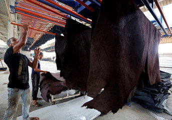 A worker carries leather in the factory of Al Rowad Leather Tannery at El Robbiki Leather City in Badr City, east of Cairo