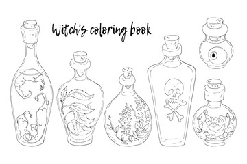 Vector illustration. Halloween. The Witch s Cauldron, Skull, leaves, pumpkin, mushrooms. Handmade, prints on T-shirts