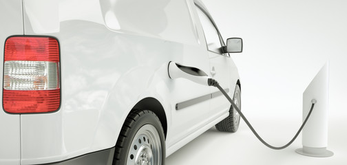Charging an electric car - 3D Rendering
