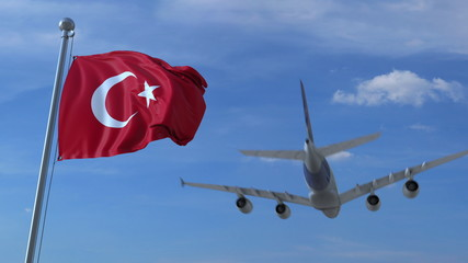 Commercial airplane landing behind waving Turkish flag. Travel to Turkey conceptual 3D rendering