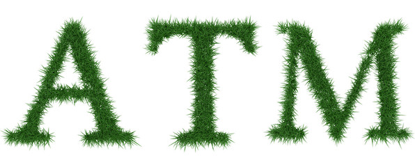 Atm - 3D rendering fresh Grass letters isolated on whhite background.
