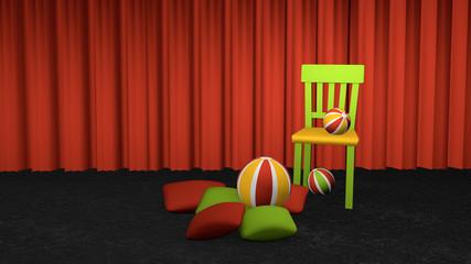 Dekorativer Stuhl mit Kissen und Bällen