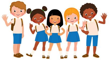 Group of happy children in school uniform