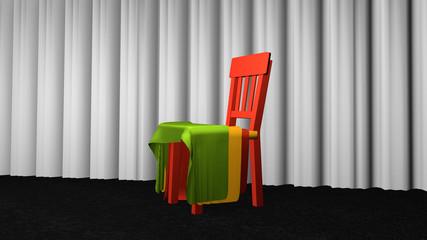 Stuhl mit Stoff zur Dekoration
