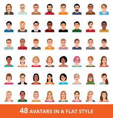 Large vector set of avatars of men and women in a flat style