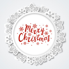 Christmas background with paper snowflakes round frame