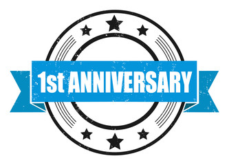 Grunge stamp with word 1st anniversary. Square grunge rubber stamp on white background. Vector stock.