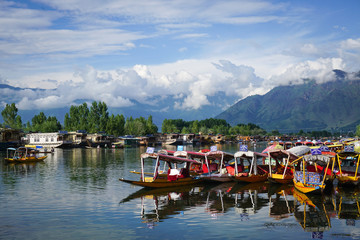 Landscape of Dal Lake in Srinagar, India