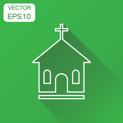 Line church sanctuary icon. Business concept church pictogram. Vector illustration on green background with long shadow.