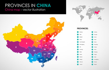 Vector map of China and provinces COLOR