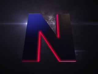 letter n black extruded symbol with red light outline glowing in the dark and nice lens