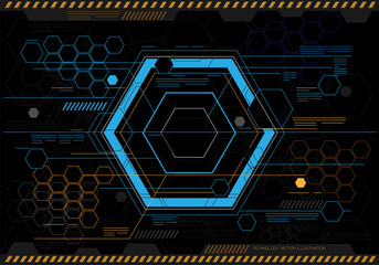 Abstract hexagon technology screen display design modern futuristic creative graphic artwork background vector illustration.