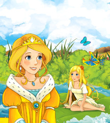 cartoon fairy tale scene with a young princess looking at some little girl on swimming on a leaf - illustration for children