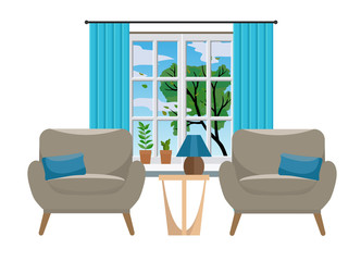 Cozy Interior with two elegant armchairs, a coffee table and a window with a tree