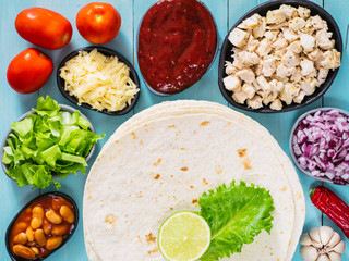 mexican tortilla with mix of ingredients
