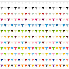 Colorful bunting festive decorations flags vector set. 12 high quality party flags vector brushes.