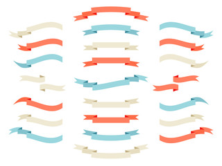 Vector ribbon set. Retro styled vintage flat design elements ribbons template collection.