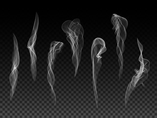 Realistic transparent vector smoke texture set. Digital abstract smoke design element collection.