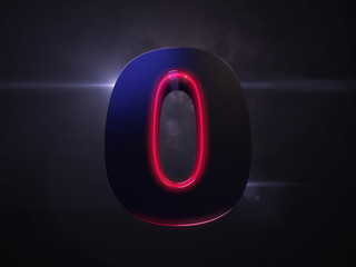 0 black extruded number with red light outline glowing in the dark and nice lens flare and smoke in background 3D render