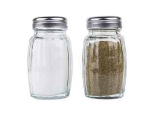 Fototapeta Salt and pepper in glass jars isolated on white obraz