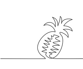 Stylized drawing of pineapple. Continuous thin line drawing. Vector illustration