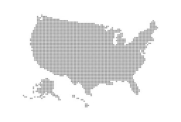Dotted style map of USA and white background Fotomurales