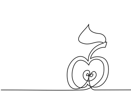 Stylized drawing of apple. Continuous thin line drawing. Vector illustration