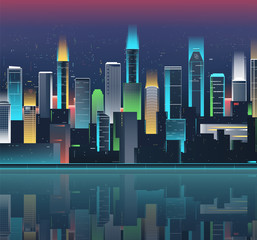 Night city skyline with neon lights. Modern city. Vector