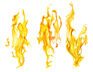 Deurstickers Vuur set of orange fire sparks on white background