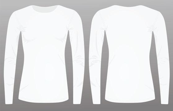 Women white long sleeve t shirt. vector illustration