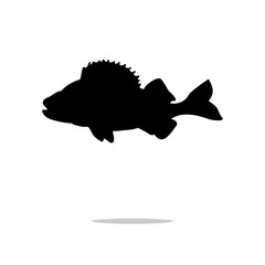 Perch fish aquatic black silhouette animal