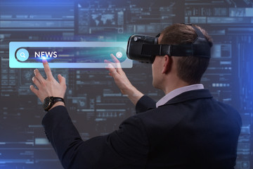 Business, Technology, Internet and network concept. Young businessman working on a virtual screen of the future and sees the inscription: News