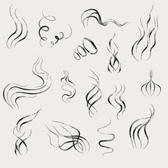 Set of smoking and steaming dry brush drawing icons. Vector hand drawn cartoon illustration.