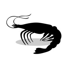 Shrimp black silhouette aquatic animal