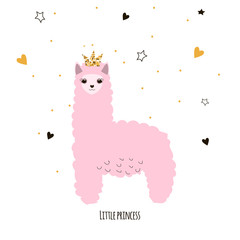 Cute little lama princess. Kids funny poster or print. Vector hand drawn illustration.
