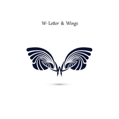 W-letter sign and angel wings.Monogram wing vector logo template.Classic emblem.