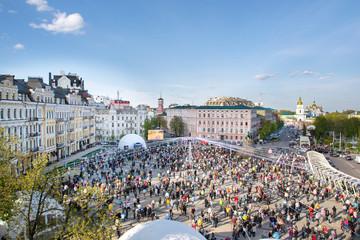 Fototapeten Kiew Kiev, Ukraine. Crowd and Easter painted eggs Festival on Sofievska square and St Michael's Monastery