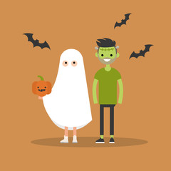 Halloween trick or treat set: characters are wearing halloween festive costumes. Flat vector illustration
