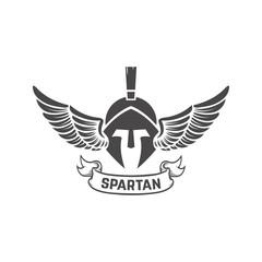 Spartan helmet. Military emblem. Design element for logo, label, emblem, sign. Vector illustration