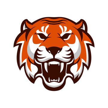 Tiger head. Design element for logo, label, emblem, sign. Vector illustration