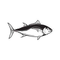 Tuna fish illustration isolated on white background. Design element for logo, label, emblem, sign. Vector illustration