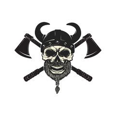 Viking warrior skull in horned helmet. Design element for logo, label, emblem, sign. Vector illustration