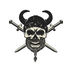 Viking warrior skull in horned helmet. Design element for logo, label, emblem, sign. Vector illustration