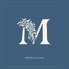 Elegant letter M. Graceful royal style. Calligraphic beautiful logo. Vintage drawn emblem for book design, brand name, business card, Restaurant, Boutique, Hotel. Vector illustration