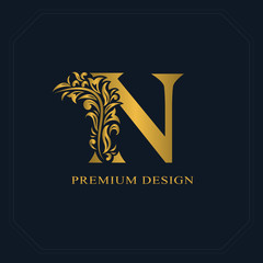 Gold Elegant letter N. Graceful style. Calligraphic beautiful logo. Vintage drawn emblem for book design, brand name, business card, Restaurant, Boutique, Hotel. Vector illustration