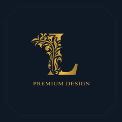 Gold Elegant letter L. Graceful style. Calligraphic beautiful logo. Vintage drawn emblem for book design, brand name, business card, Restaurant, Boutique, Hotel. Vector illustration