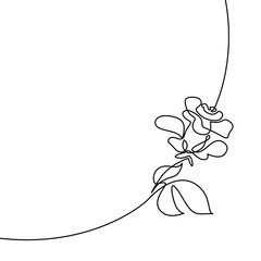 Continuous one line drawing. Beautiful rose logo. Black and white vector illustration. Concept for logo, card, banner, poster, flyer