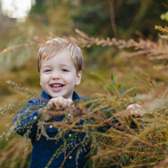 Happy smiling young boy exploring in nature